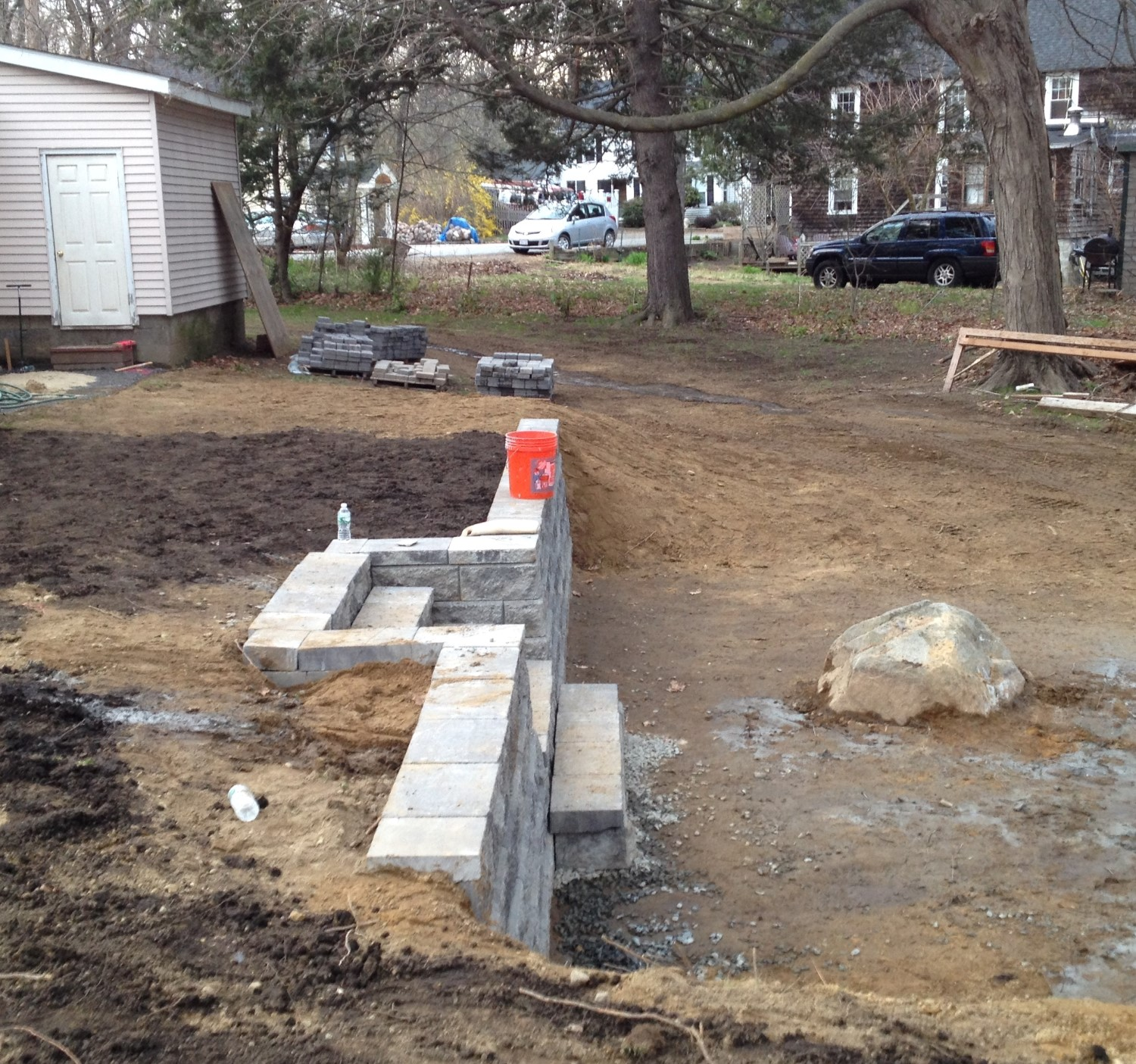 A new backyard the woodmans for How to level a house